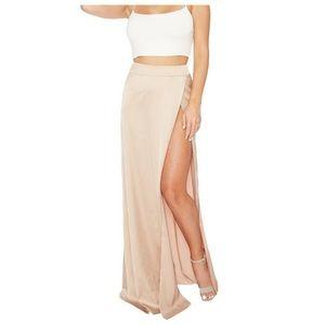 Champagne silky high slit skirt